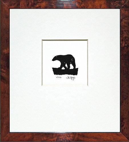 Polar Bear in Walnut Veneer Frame
