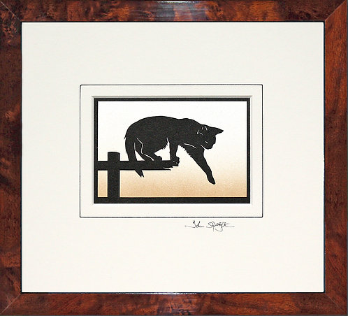 Cat Stepping in Walnut Veneer Frame