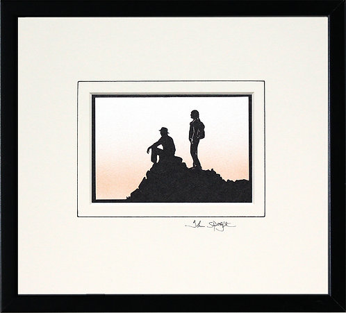 Walkers On Hill Top in Black Frame
