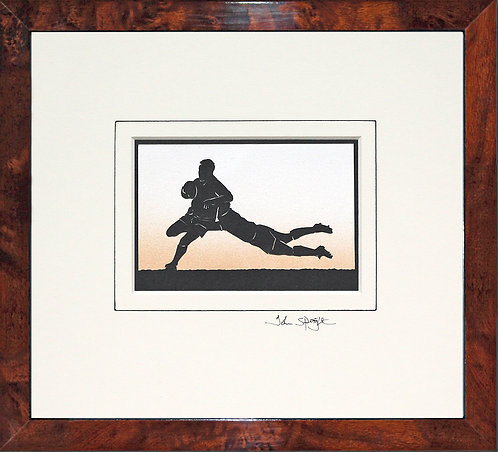 Rugby Players in Walnut Veneer Frame
