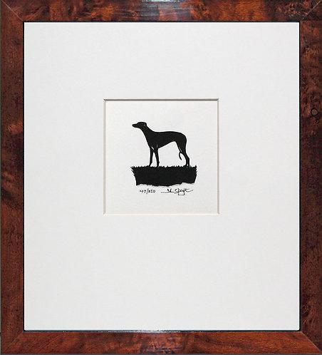 Greyhound in Walnut Veneer Frame