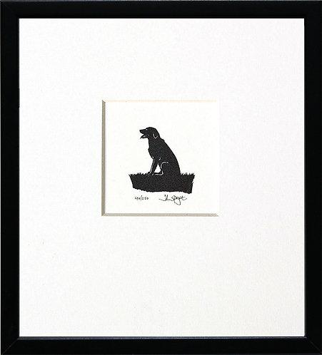 Labrador - Sitting, Panting in Black Frame