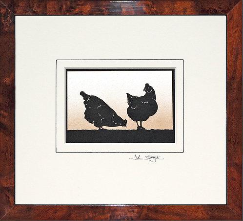 Hens in Walnut Veneer Frame