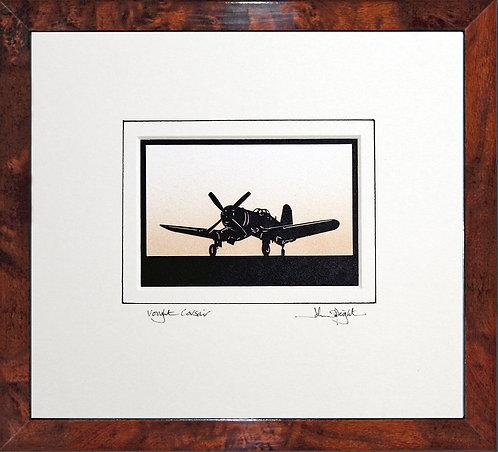 Vought Corsair in Walnut Veneer Frame