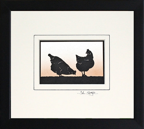 Hens in Black Frame