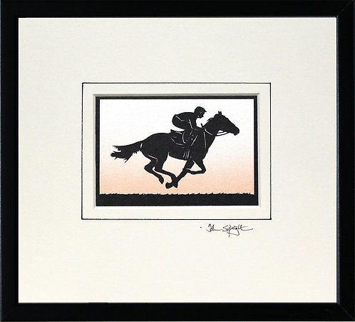 Racehorse and Jockey in Black Frame