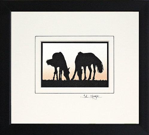 Horses in Black Frame