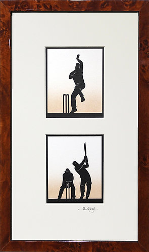 Cricket Bowler & Batsman Pair in Walnut Veneer Frame