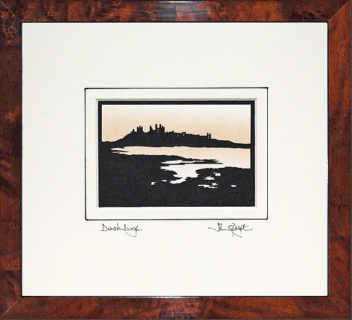 Dunstanburgh from the South in Walnut Veneer Frame