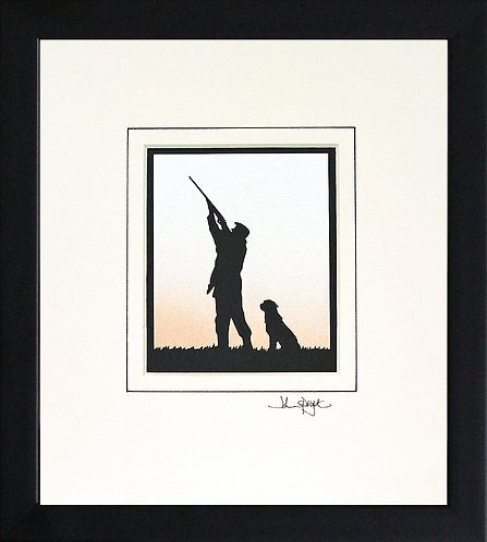 Shooter With Labrador in Black Frame