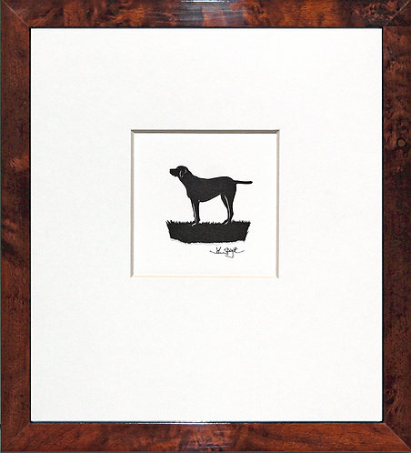 English Pointer in Walnut Veneer Frame