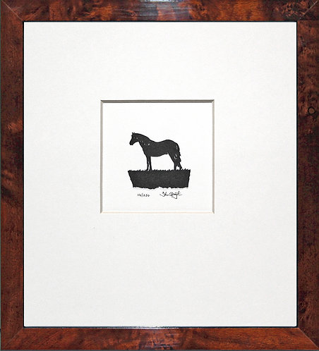 Connemara Pony in Walnut Veneer Frame