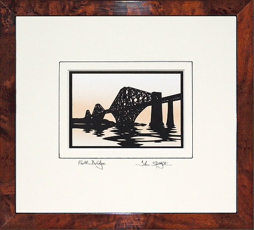 Forth Bridge Edinburgh in Walnut Veneer Frame