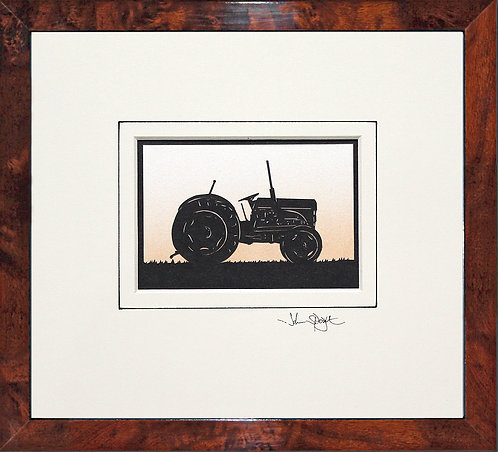 Vintage Tractor in Walnut Veneer Frame