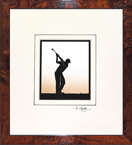 Golfer - Male in Walnut Veneer Frame