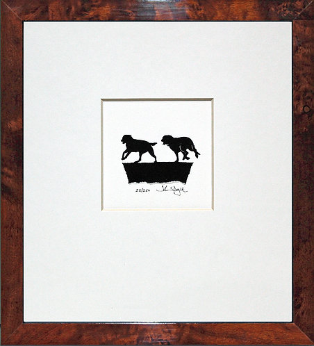 Labradors Running in Walnut Veneer Frame