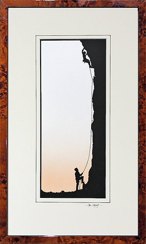 Rock Climbers in Walnut Veneer Frame