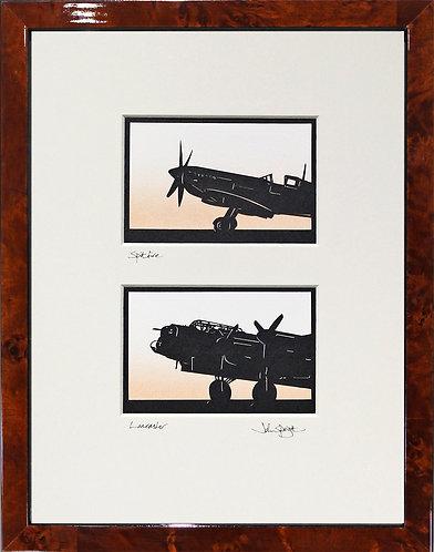 Spitfire, Lancaster Pair in Walnut Veneer Frame