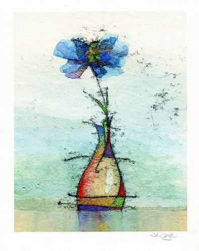 "Blue Flower 10"" x 8"" Giclee Print Signed"