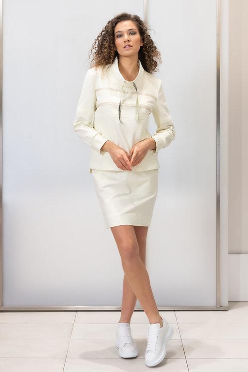 Tepláková sukně s vloženou perforovanou kůží Beata Rajska