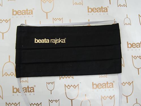 Rouška černá bavlněná s logem Beata Rajská