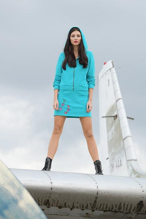 Luxusní tepláková sukně s výšivkou