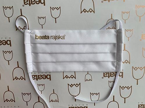 Rouška bílá s antibakteriální úpravou a logem Beata Rajská