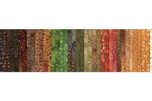 """Hoffman Bali Pop- 172 Copper Batik 2.5"""" Strips Jelly Roll Rollup Fab"""