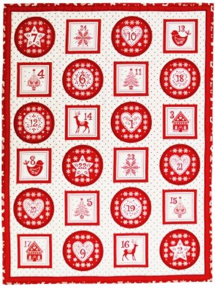 Makower Scandi - Advent Pocket - Red 1971/1