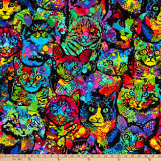 Timeless Treasures - Brite Cats C4140 Multi
