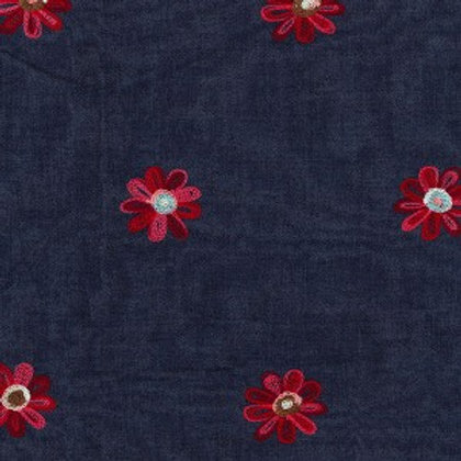 Embroidered Red - 145cm Wide 100% Cotton Denim