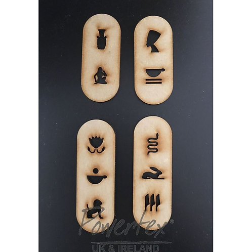 Powertex - MDF - 4 Rounded Cartouche -Hieroglyphic Tablets
