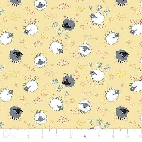 Camelot - Cotton Flannel Sheep on Yellow - 21179961B