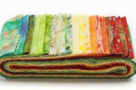 "Hoffman Bali Poppy - 663 Citrus Grove Batik 2.5"" x 20 Strips Fabric ro"