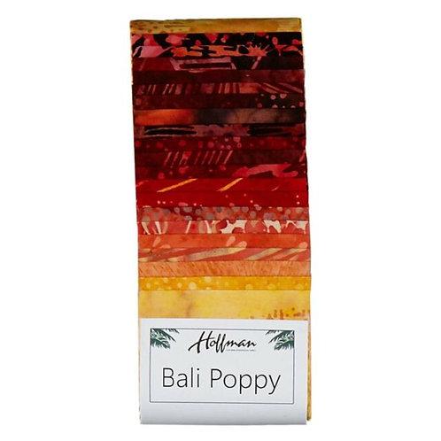 "Hoffman Bali Poppy - 347 Lava Batik 2.5"" x 20 Strips Fabric roll up"
