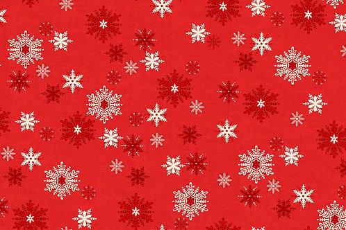 Makower Scandi 3 -Snowflakes Red