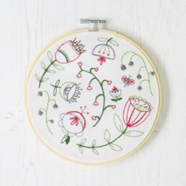 Folk Blossom Contemporary Embroidery Kit