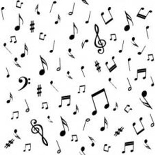 4520-100 Musical notes on white - Stof