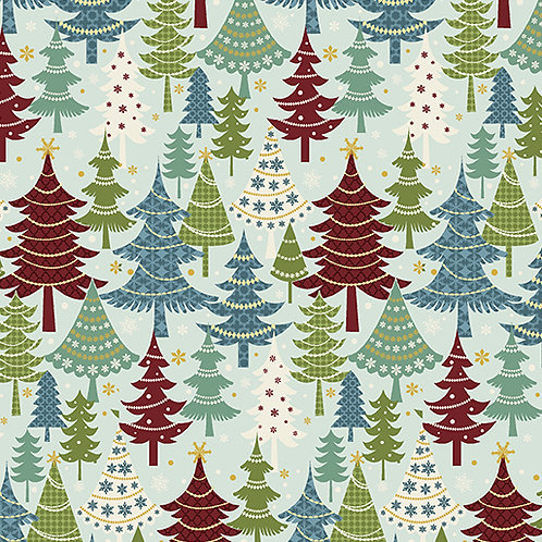 Jolly Penguin 10044-84 Festive Trees Turquoise/multi