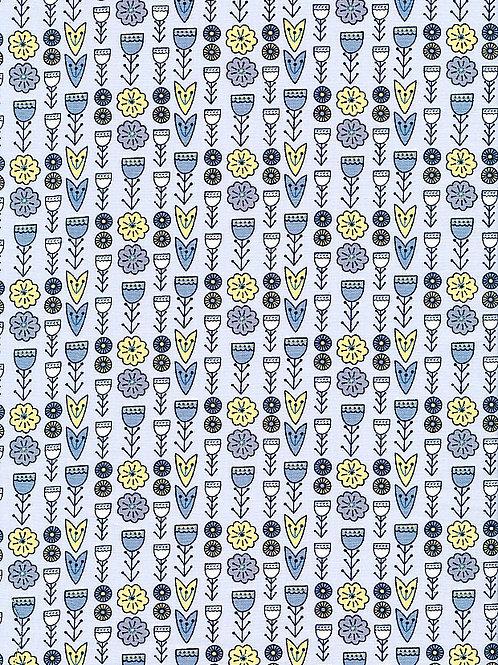 Fabric Freedom - Scandi Flora - Floral Grey FF319/2