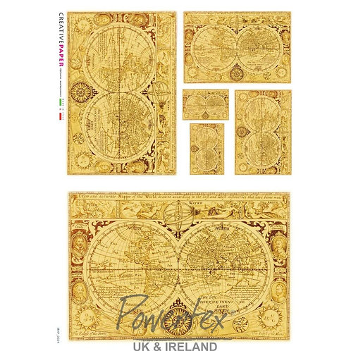 Powertex - Antique Map Rice Paper