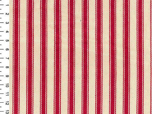 100% Cotton Canvas Ticking Stripe - 150cm Wide - Red JLC0118