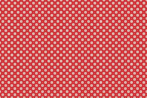 Makower Scandi - Snowflake Cream - Red 1789/R6