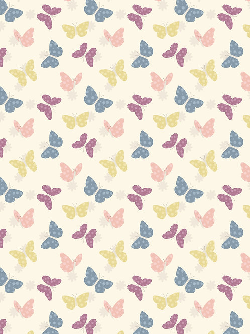 Bunny Garden A149.1 Butterflies on white