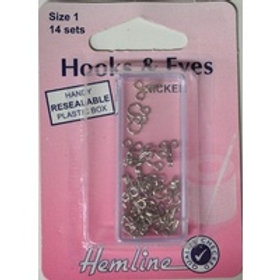 Hemline - Hook & Eyes - Size 1 / 14 sets