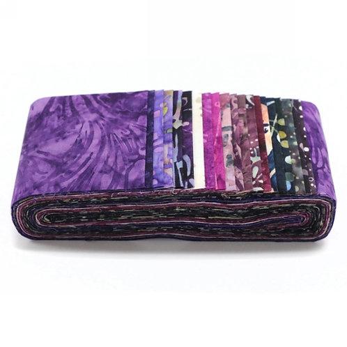 "Hoffman Bali Poppy - 287 Napa Batik 2.5"" x 20 Strips Fabric roll up"