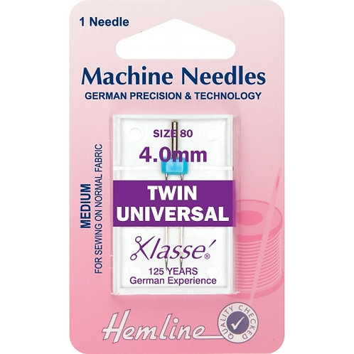 Hemline - Machine Needles - Twin Universal Size 80 4.0mm