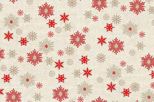 Makower Scandi 3 -Snowflakes Red Hessian