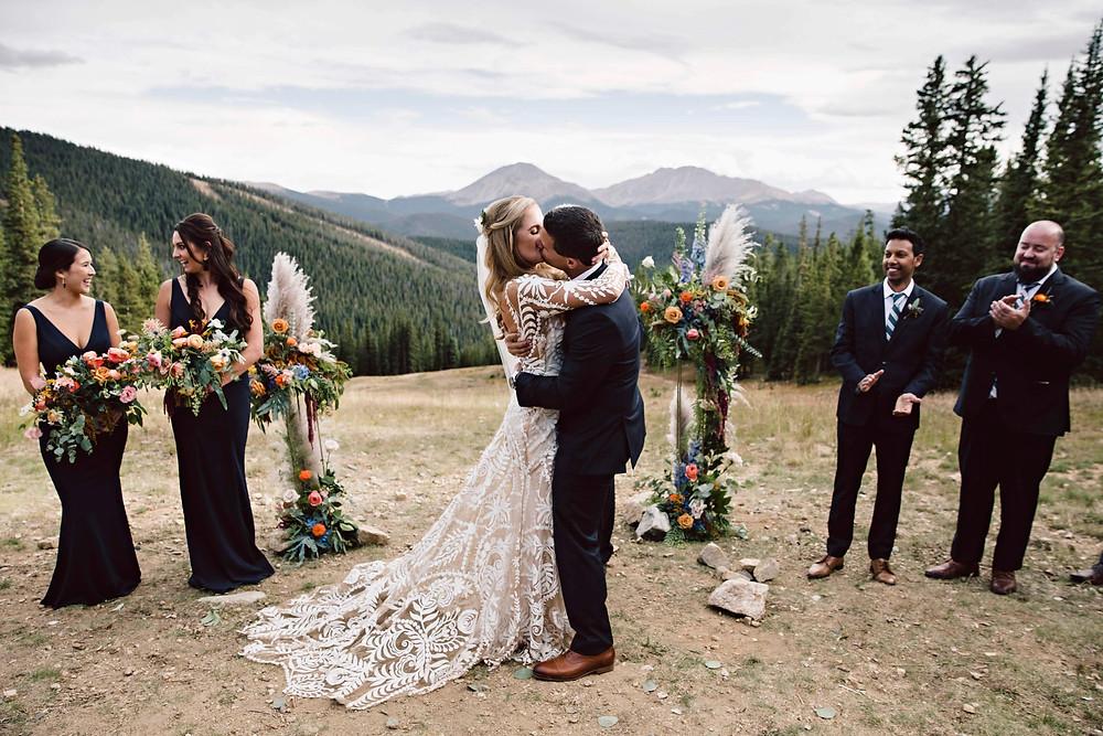 Keystone Wedding Planner - Timber Ridge Wedding - First kiss
