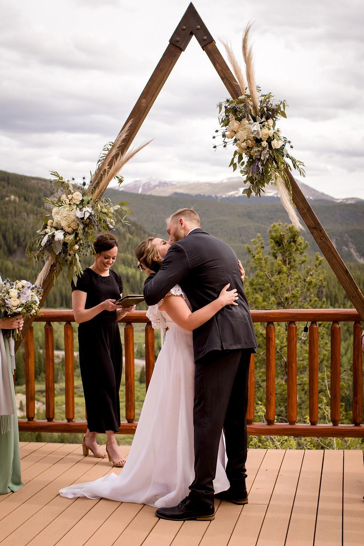 The Lodge at Breckenridge Wedding - First Kiss